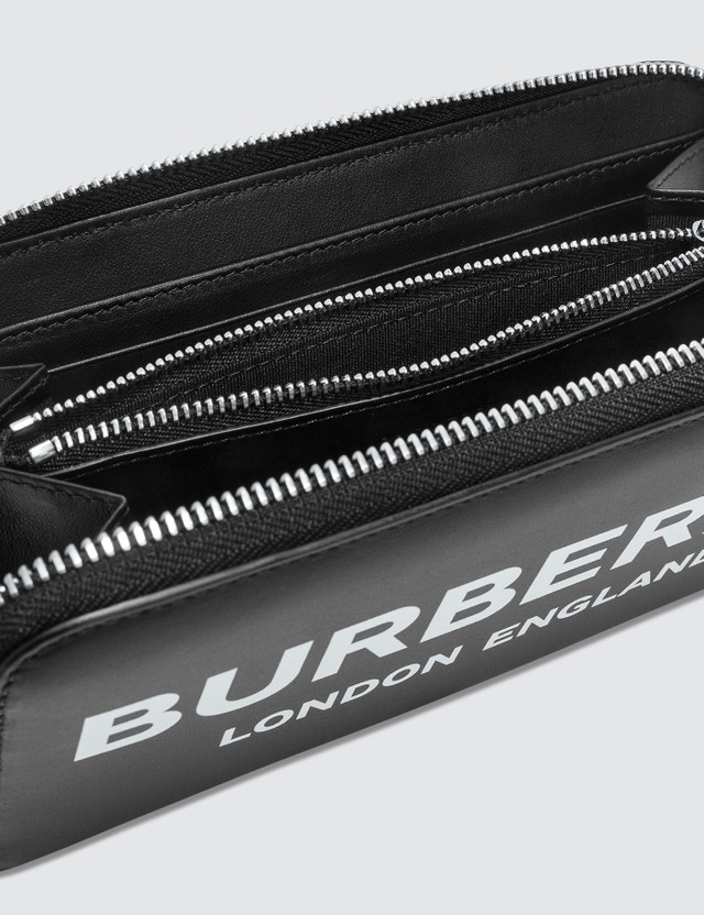 Burberry Logo Print Leather Zip-around Wallet