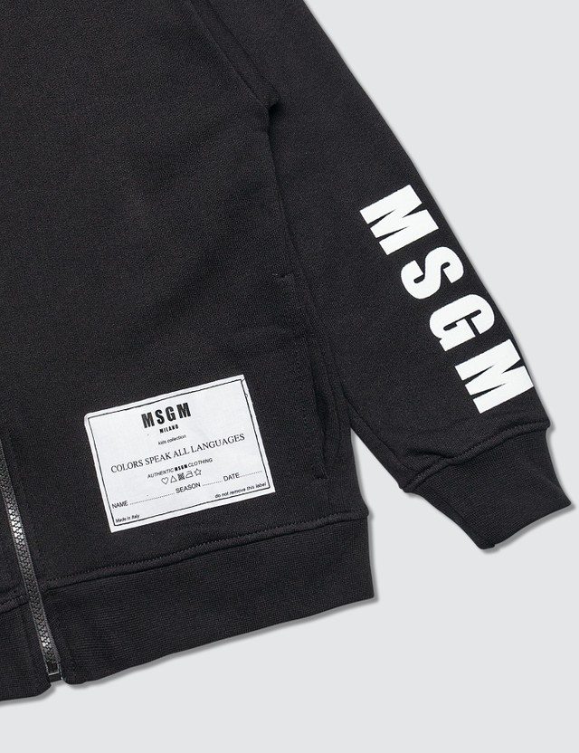 MSGM Deepest Black Full Zip Hooded Jacket