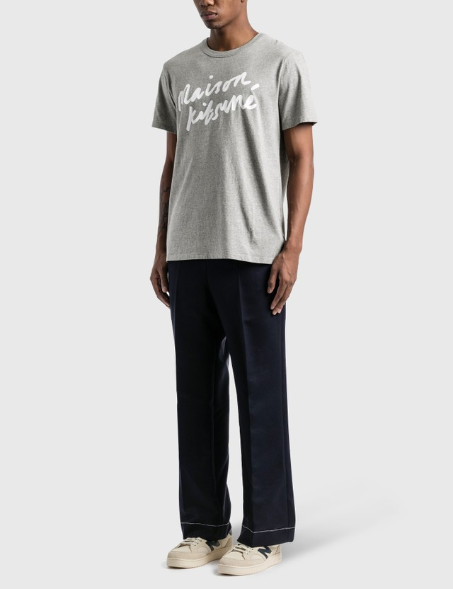 Maison Kitsune Handwriting T-Shirt Grey Melange Men