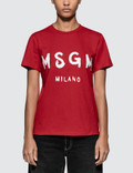 MSGM Brush Strokes Msgm Logo Short Sleeve T-shirt