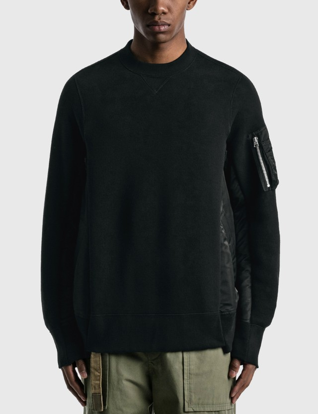 Sacai Sponge Sweat X Ma-1 Pullover Black X Black Men