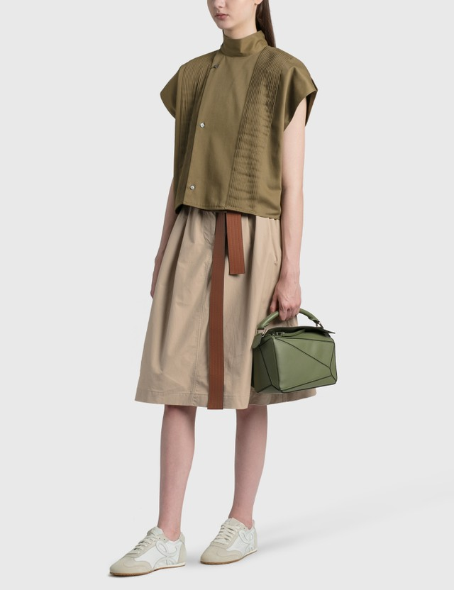 Loewe Cropped Pleated Blouse Moss Green Women