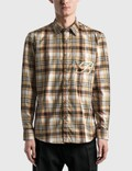 Burberry Embroidered B Motif Stretch Cotton Shirt Archive Beige Ip Chk Men