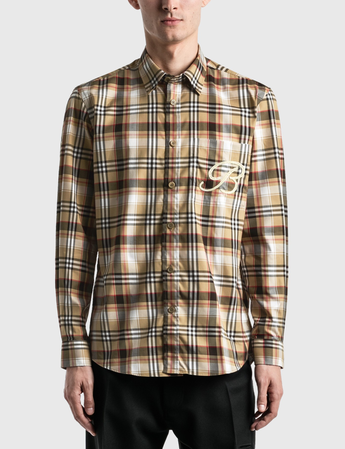 Burberry Cottons EMBROIDERED B MOTIF STRETCH COTTON SHIRT