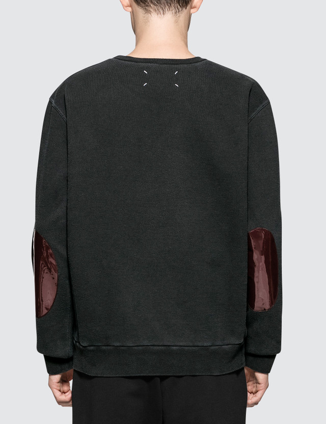 Maison Margiela Black Open End Fleece Sweater With Arm Patch
