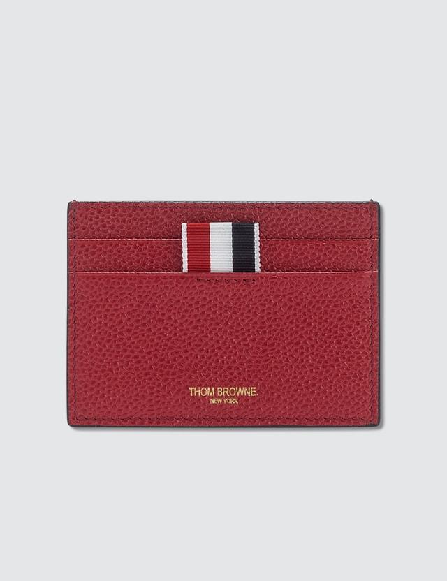 thom browne bicolor single card holder in pebble grain - Thom Browne Card Holder