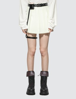 Hyein Seo Pleated Skirt With Leather Garter Belt