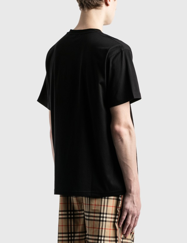Burberry Embroidered Globe Graphic 코튼 오버사이즈 티셔츠 Black Men