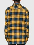 Acne Studios Logo Patch Flannel Overshirt Yellow/black Men