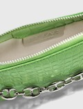 BY FAR Mini Rachel Grass Croco Embossed Leather Bag Grass Women