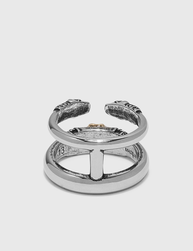 Alexander McQueen Skull and Charm Seal Double Ring Mix Women