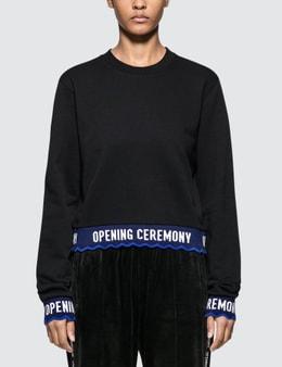 Opening Ceremony Scallop Oc Elastic Logo Crop Sweatshirt