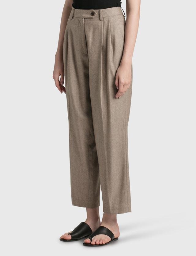 Nothing Written Wool Flannel Tuck Pants Grey Women