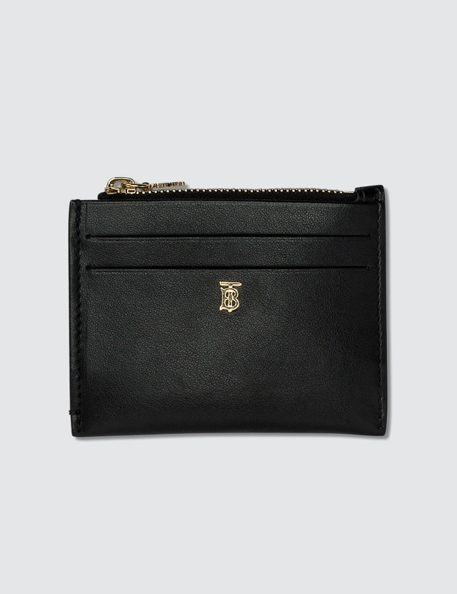 Burberry Calf Leather Zip Card Holder