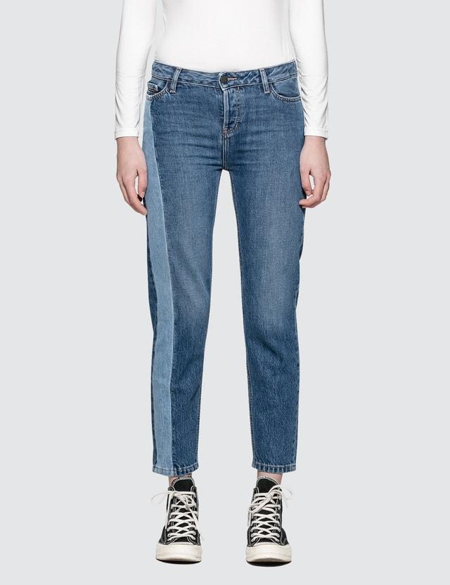 Calvin Klein Jeans Straight Ankle Jeans With Dark Vert