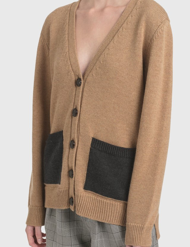 Ganni Wool Knit Cardigan Tiger's Eye Women