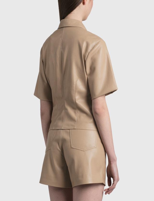 Nanushka Sabine Vegan Leather Shirt Sandstone Women