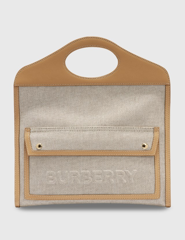 Burberry Small Canvas and Leather Pocket Clutch Softfawn/warmsand Women