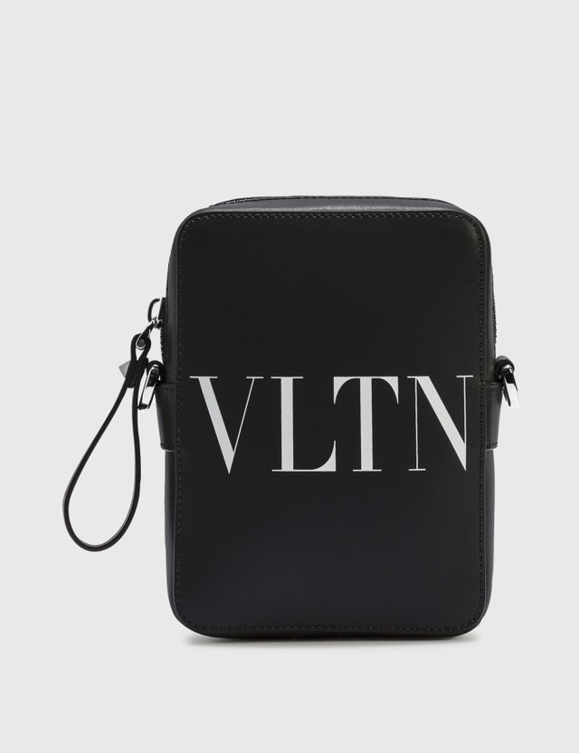 Valentino Valentino Garavani Small VLTN Leather Crossbody Bag Nero/bianco Men