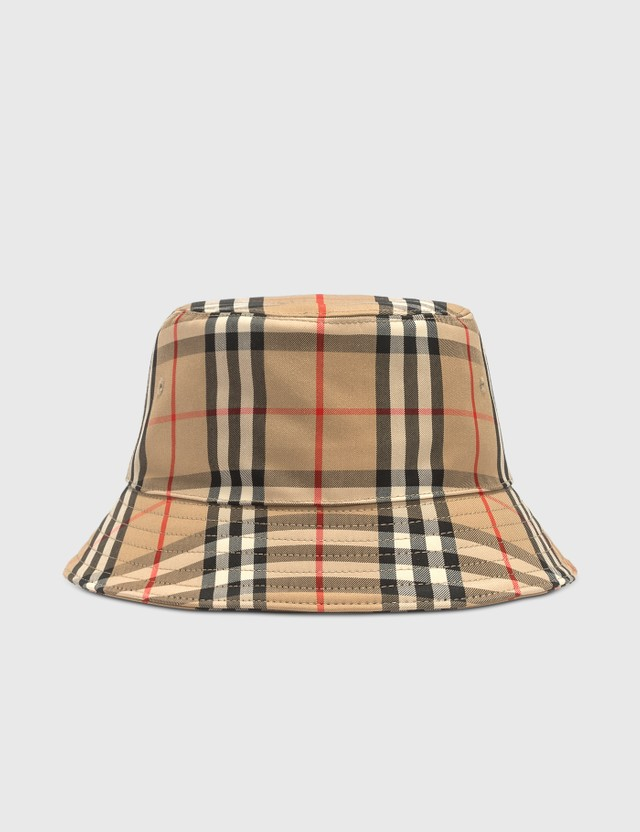 Burberry Vintage Check Cotton Blend Bucket Hat Archive Beige Men