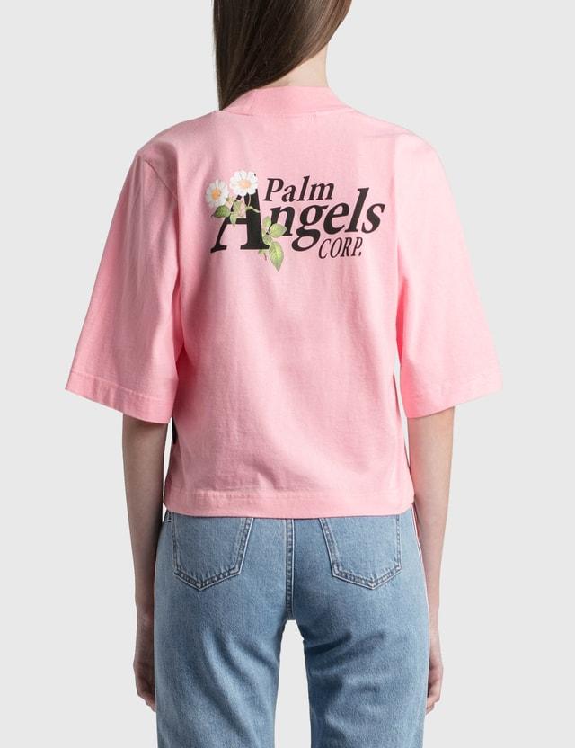 Palm Angels Daisy Logo Cropped T-Shirt Pink Women