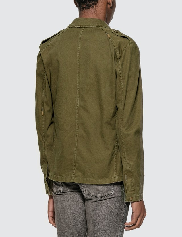 Saint Laurent Saharienne Jacket In Cotton Gabardine Olive Men