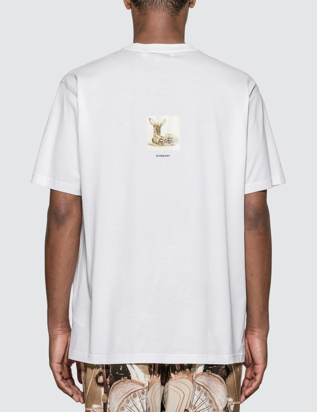 Burberry Deer Print Cotton Oversized T-shirt White Men