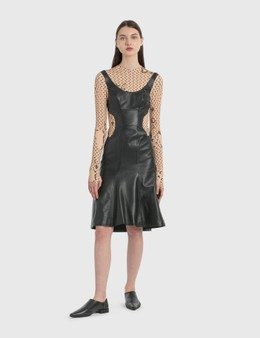 Marine Serre Regenerated Leather Hybrid Stretch Dress