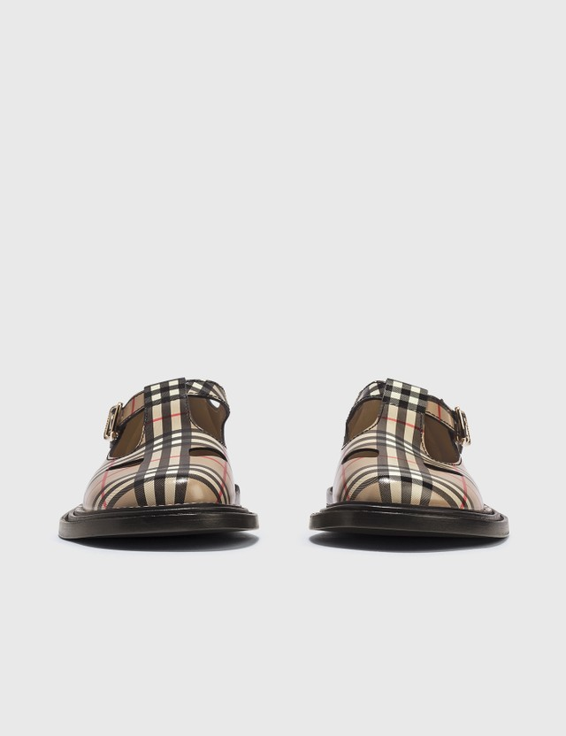 Burberry Vintage Check Leather T-bar Shoes