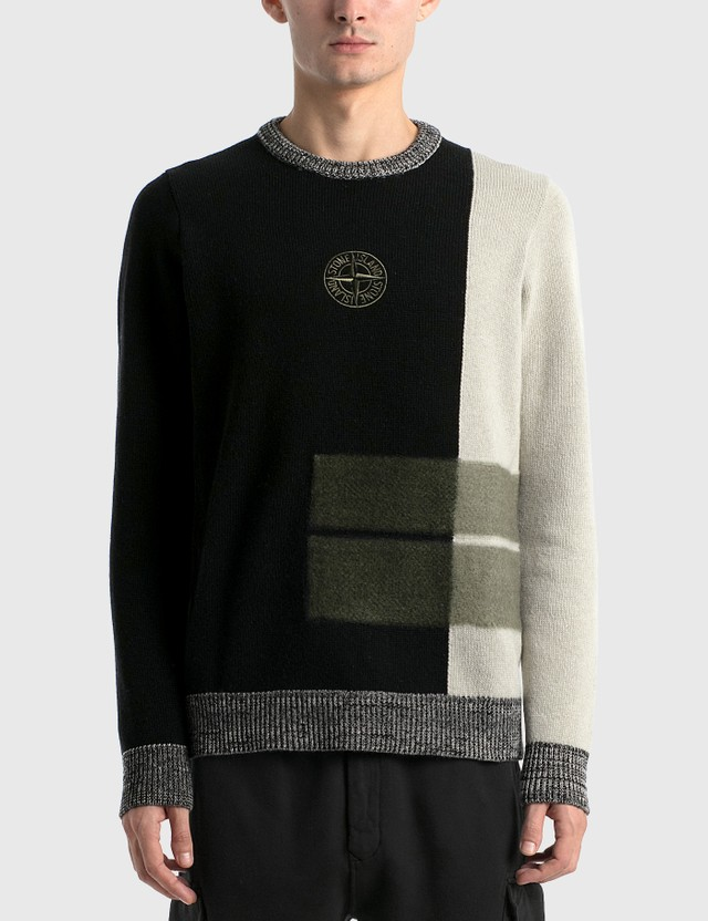 Stone Island Compass Logo Knit Sweater Nero Men