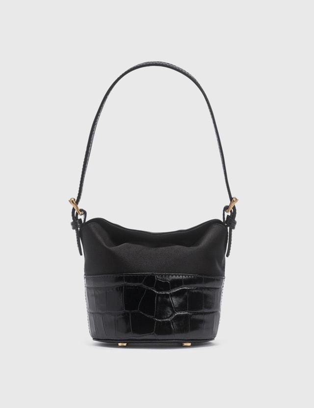 BY FAR Mini Jamie Black Croco Embossed Leather And Black Silk Top Handle Bag Black Women
