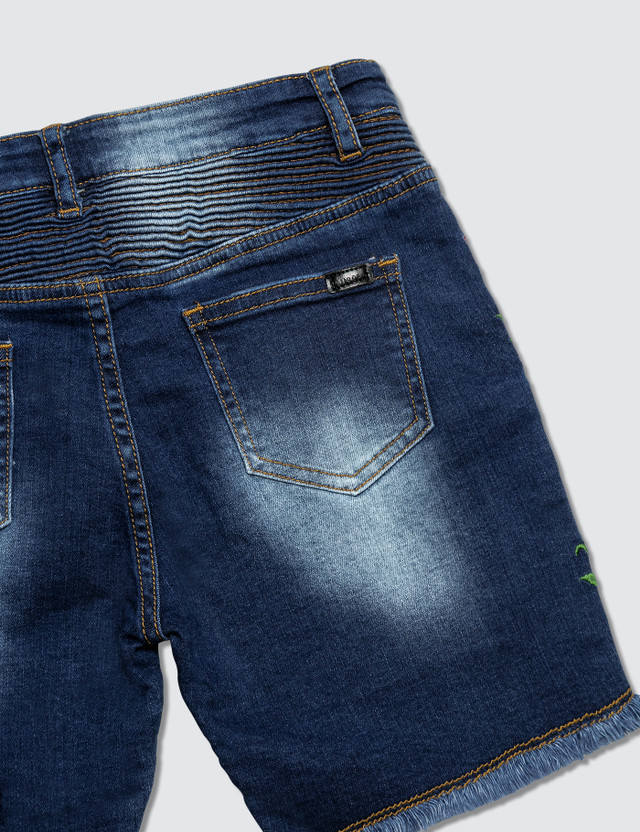 Haus of JR Ron Biker Denim Shorts Indigo Kids