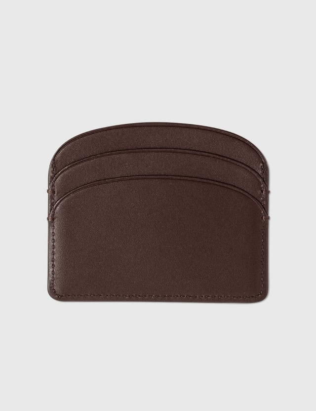 A.P.C. Half Moon Card Holder Can Chestnut Women