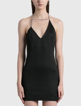 Area Asymmetrical Crystal Halter Mini Dress