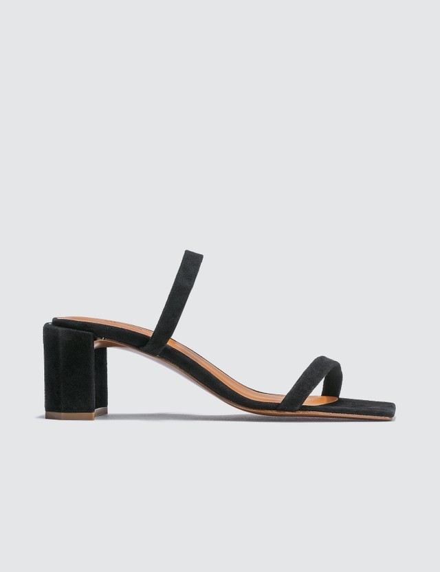 BY FAR Tanya Black Suede Sandals
