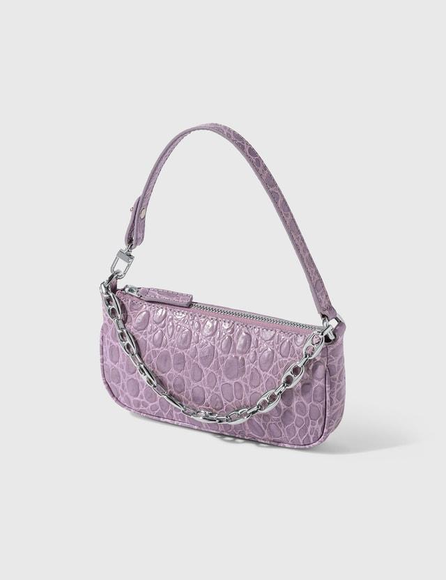 BY FAR Mini Rachel Lilac Croco Embossed Leather Bag Lilac Women