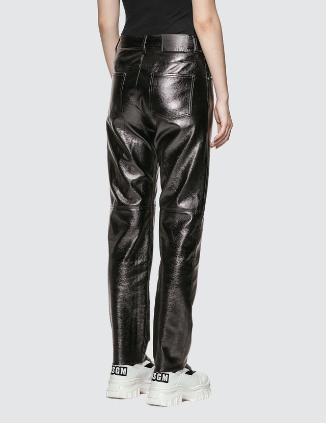 MSGM Faux Leather Straight Leg Pants