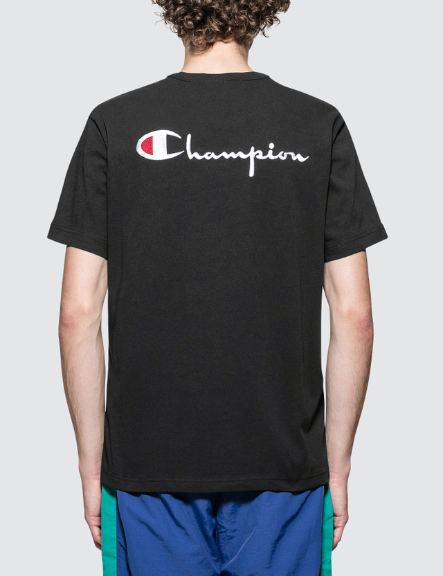 Champion Reverse Weave Back Script Logo S/S T-Shirt Black Men
