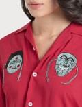 Kirin Masks Embroidery Bowling Shirt Red Mint Women