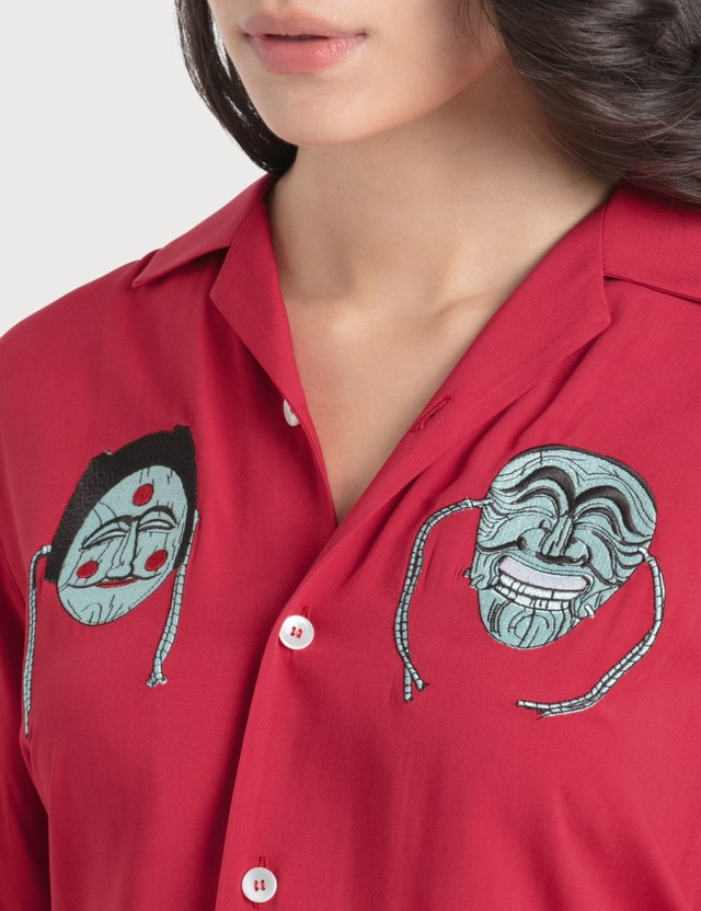 Kirin Masks Embroidery Bowling Shirt Red Mint Women