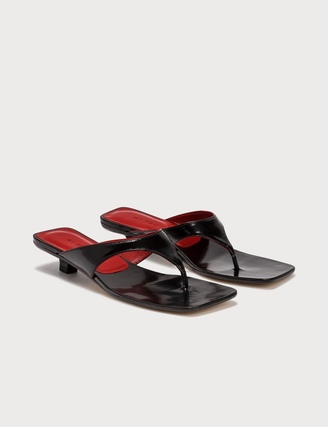 BY FAR Jack Black Semi Patent Leather Sandals