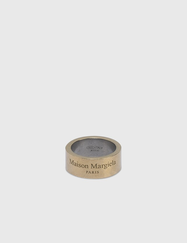 Maison Margiela 로고 와이드 링 Yellow Gold Semi Polished Women