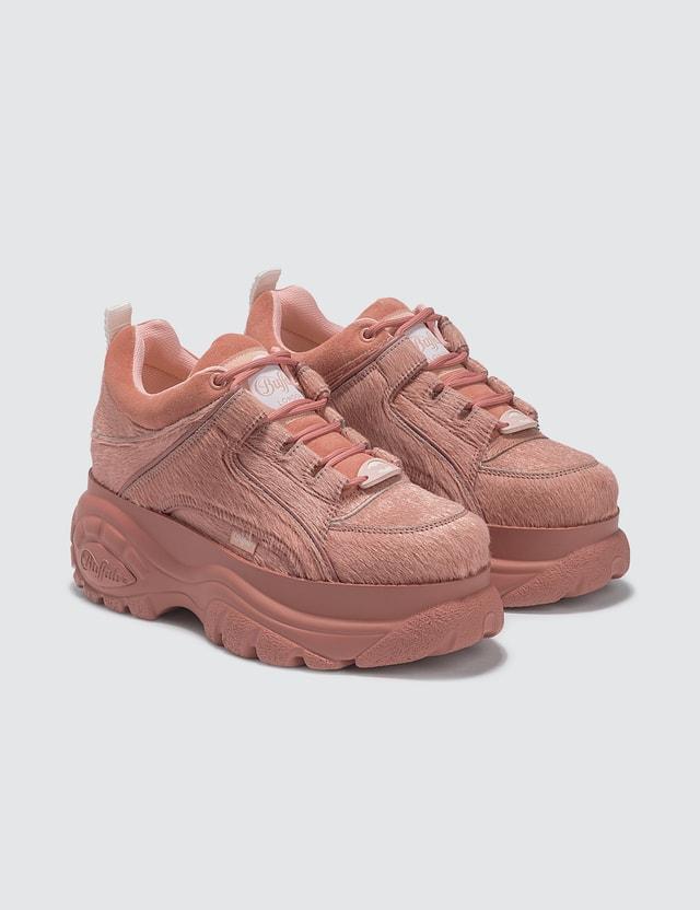 Buffalo London Fur Low Top Platform Sneakers Pink Women