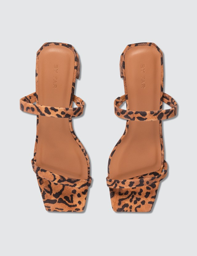 BY FAR Tanya Leopard Print Suede Leather Sandals Leopard Print Women