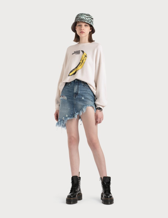 R13 Velvet Underground Banana Oversized Crewneck Sweatshirt