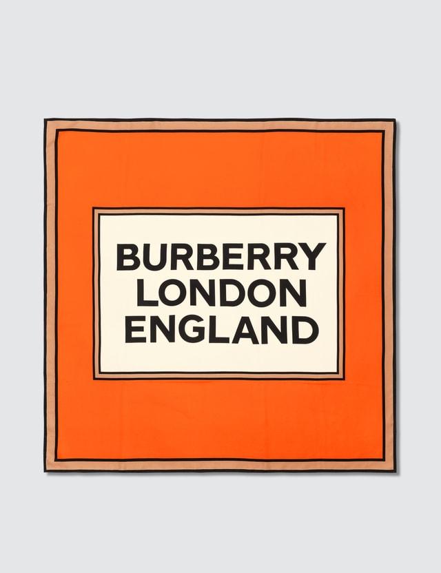 Burberry Logo Print Silk Square Scarf