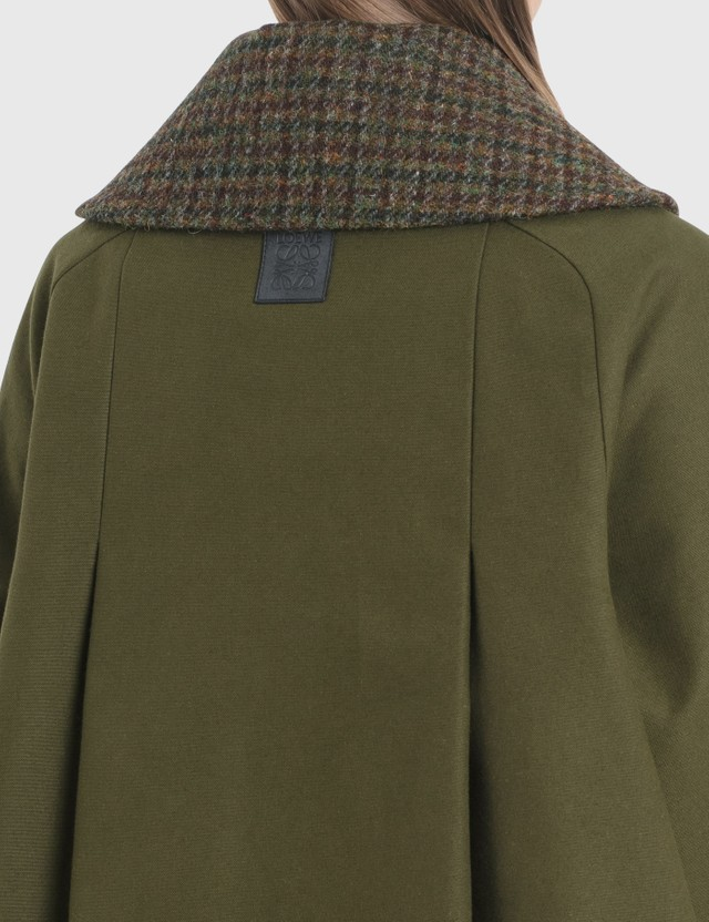 Loewe Houndstooth Collar Jacket Khaki Green Women