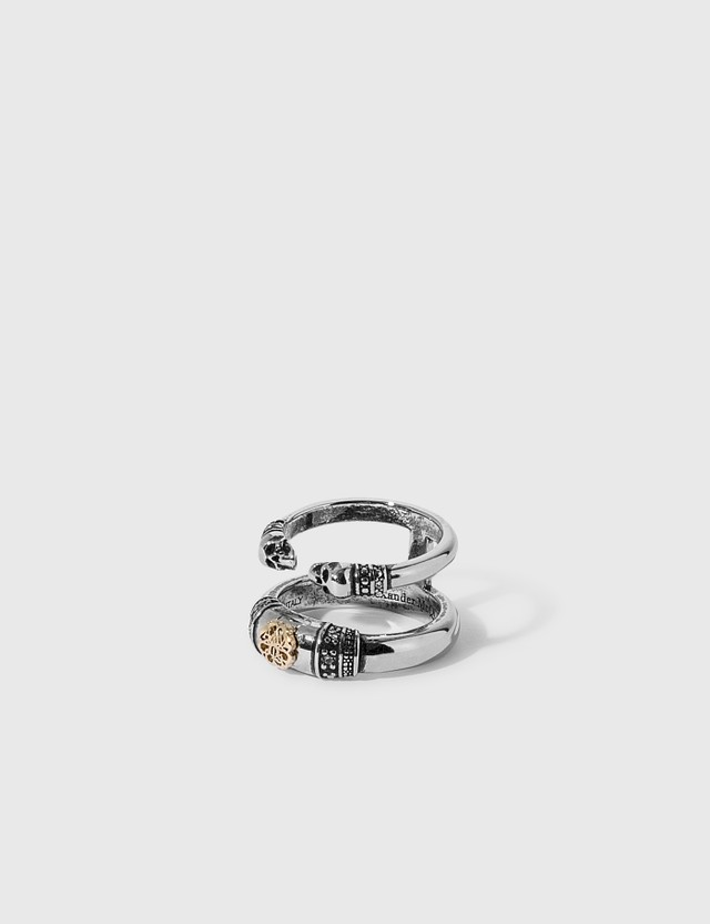 Alexander McQueen Skull and Charm Seal Double Ring