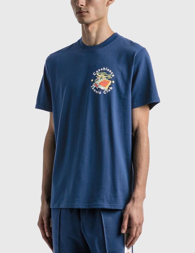 Casablanca Casablanca Tennis Club Island Double Print T-shirt Navy Men