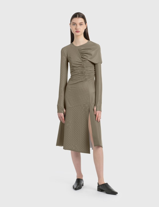 Marine Serre Asymmetric Stretch Gathered Dress 11 Bronze Print Women